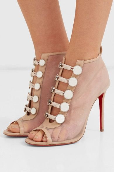 d3344074e70 Christian Louboutin - Marika 100 leather-trimmed mesh ankle boots in ...