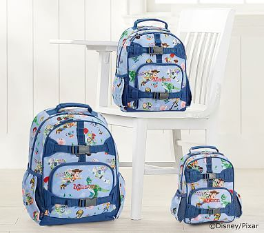 Pottery Barn Kids Mackenzie Large Backpack Gray Red Car Boys Bookbag Disney New
