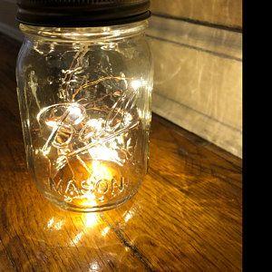 8 Firefly Lights And Mason Jar Centerpieces Wedding Centerpieces Fairy Lights Vintage Lights Wedding Rustic Wedding Mason Jar Lights Jar Centerpiece Wedding Mason Jar Centerpieces Jar Centerpieces