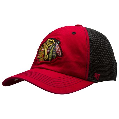 620696ae44f5f9 Chicago Blackhawks Red and Black Primary Logo Mesh Back Flex Fit Hat by 47  Brand #Chicago #Blackhawks #ChicagoBlackhawks