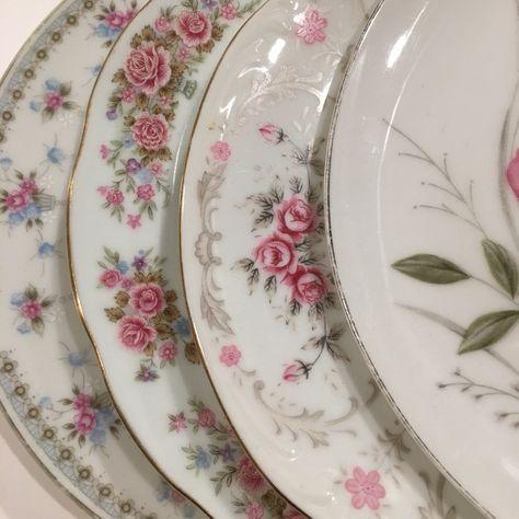 Vintage Mismatched Salad Plates Set of 4 Tea Party, Wedding, Bridal Shower