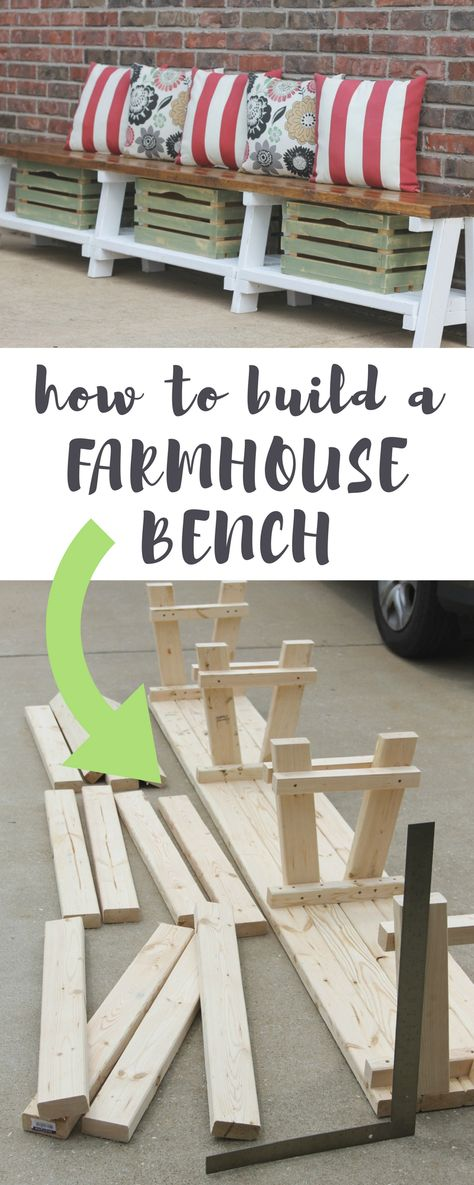 Build this farmhouse bench with storage in 10 simple steps.