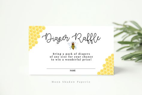 diaper raffle ticket // bumble bee baby shower theme, watercolor bees, yellow, gender neutral, boy girl