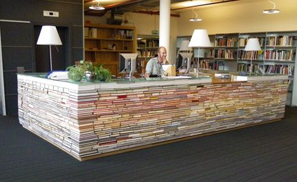 a library desk made of books. :D #books #library #desk