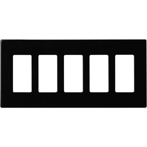 Eaton 5 Gang Decorator Screwless Wall Plate Black Plates On