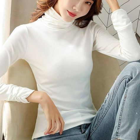 Newest Winter Women Turtleneck Basic Tops Long Sleeve Stretch T-shirt Slim Warm Jumper - White / XXL