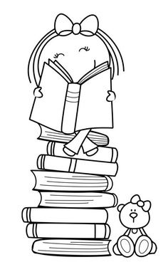 Cartoon Drawing Of Girl Reading On Stack Books