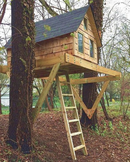 Treehouse With Porch Tree House Plans Tree House Diy Tree