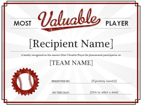 Most Valuable Player Award Certificate It is a recognition of his - acknowledgement certificate templates