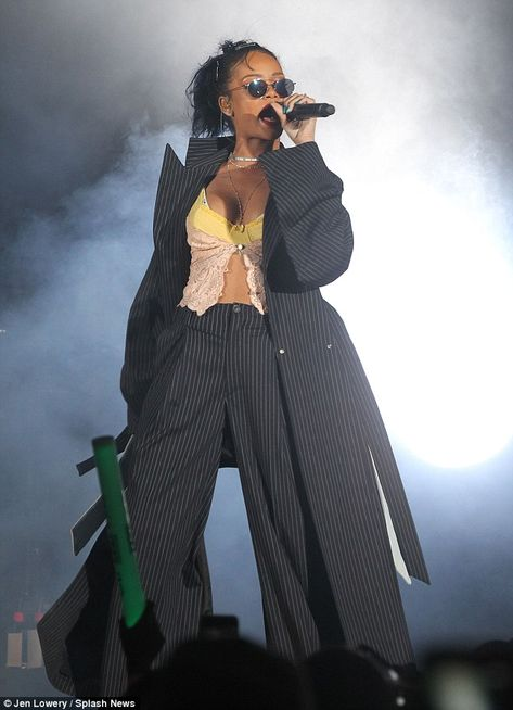 Rihanna Wears Vintage Y/Project Pinstriped Jacket and Pants to The CBS's We Can Survive Benefit Concert for Breast Cancer Awareness