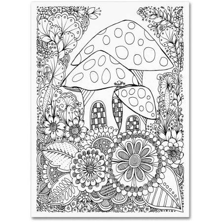 Trademark Fine Art Mushroom House Canvas Art By Kcdoodleart Walmart Com Canvas Home Trademark Fine Art Coloring Books