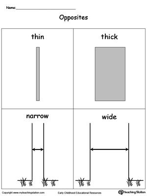 Opposites Flashcards Thin Thick Narrow Wide Flashcards Opposite Words For Kids Kids Math Worksheets