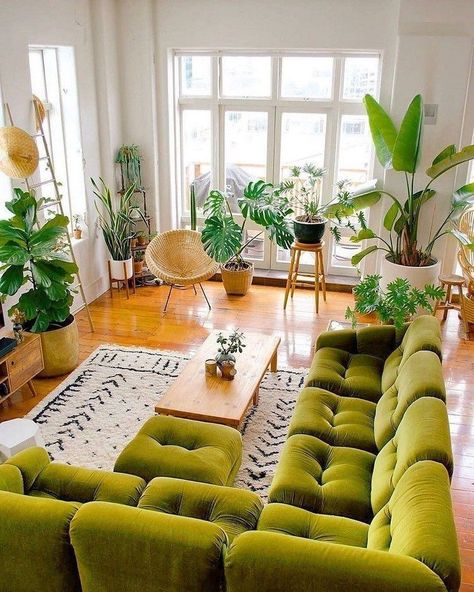 If you have a gypsy spirit in you, then these bohemian living rooms are sure to inspire you. Bohemian decorating is not for the faint of heart. With lots of bright colors, natural textiles and eclectic charms, Boho style decor is popular among people whoRead More Boho Living Room, Home And Living, Living Room With Plants, Colorful Living Rooms, Green Living Room Ideas, Colorful Couch, Living Room Decor Eclectic, Retro Living Rooms, Mid Century Modern Living Room