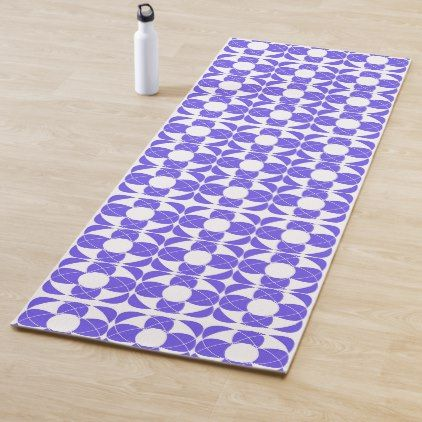 Abstract Pattern Blue And White Yoga Mat Zazzle Com