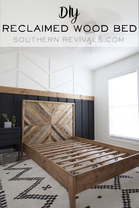 DIY Reclaimed Wood Bed West Elm Inspired Our West Elm inspired DIY reclaimed wood bed. The post DIY Reclaimed Wood Bed West Elm Inspired appeared first on Wood Ideas. Reclaimed Wood Beds, Reclaimed Wood Bedroom Furniture, Wood Wood, Wood Wall In Bedroom, Wood On Walls, Bedroom Accent Walls, Living Room Accent Wall, Diy Wood Wall, Reclaimed Wood Projects
