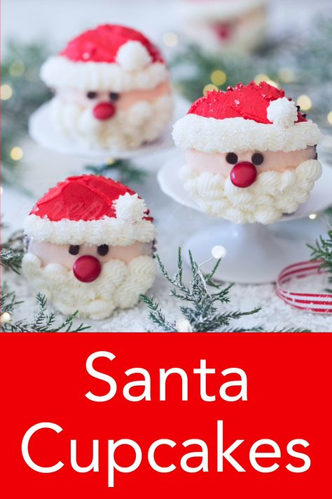These delicious chocolate cupcakes topped with cute little Santas made with buttercream will bring holiday cheer to the table and delight your guests! From Preppy Kitchen, these are a must-make on this year's Christmas list! #santacupcakes #christmascupcakes #holidaycupcakes