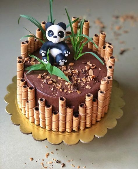 Panda Birthday Cake, Birthday Cake For Him, Pretty Birthday Cakes, Birthday Cake Designs, Crazy Birthday Cakes, Boys Bday Cakes, Birthday Cake Kids Boys, Boy Cakes, Bear Birthday