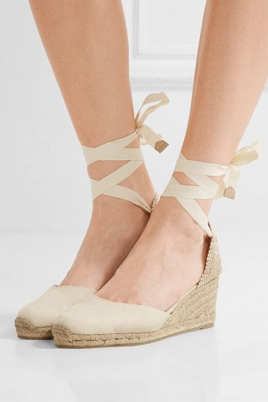 Castaner Carina 100 Beige Platform Canvas Wedge Espadrilles Women Shoes