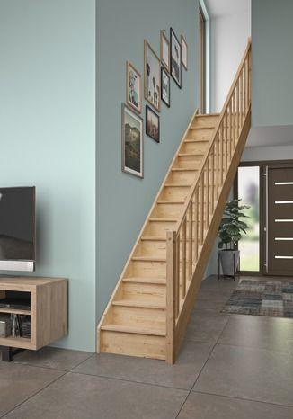 Escalier Droit En Sapin Escalier Droit Escalier Escalier En Colimacon