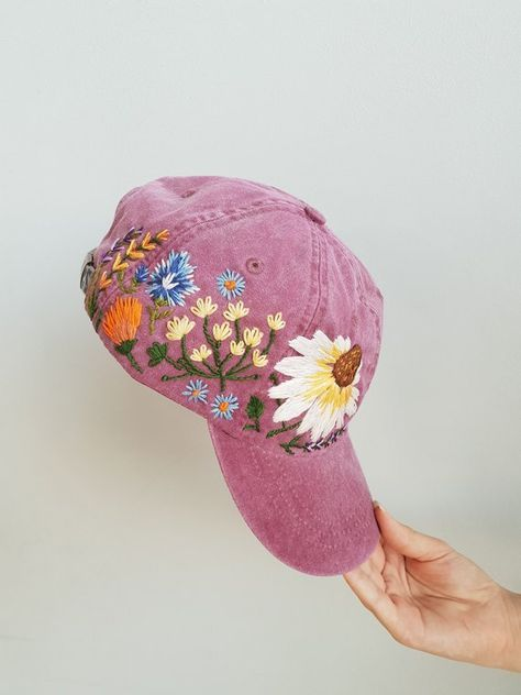Hand Embroidered Hat Custom Embroidered Baseball Cap For Women Etsy Embroidered Hats Flower Hats Embroidered Baseball Caps