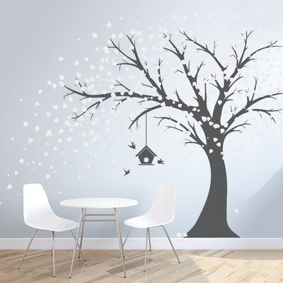Wallums Wall Decor Large Windy Tree With Birdhouse Wall Decal Size