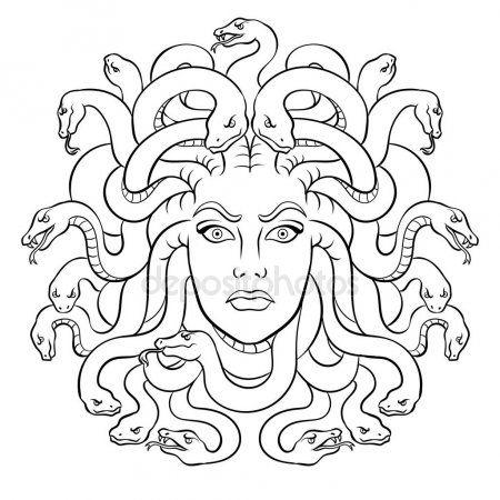 Creatura Di Mito Greco Di Medusa Colorazione Vettoriale Medusa Drawing Medusa Art Medusa Painting