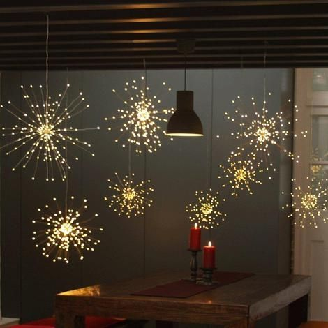 Xmas Fireworks Fairy String Light Hanging Starburst Lamp+Remote Control