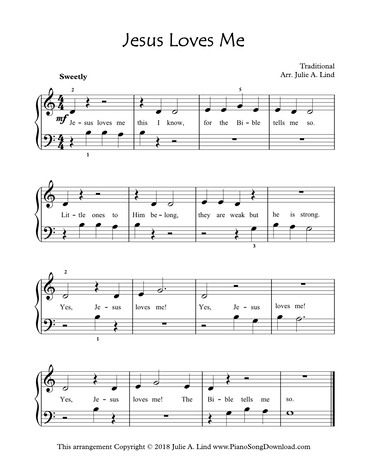 Jesus Loves Me Easy Piano Hymn Arrangement For Beginning Piano