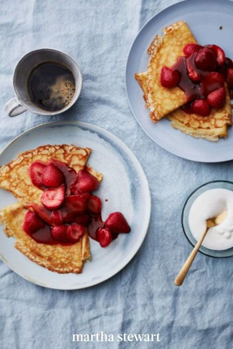 Mastering these thin French pancakes opens up a whole world of delicious meals: go savory, with ham and eggs or vegetables and goat cheese, or sweet, with a strawberry flambé or crowd-pleasing peanut butter and jam. #marthastewart #recipes #recipeideas #comfortfood #comfortfoodrecipes