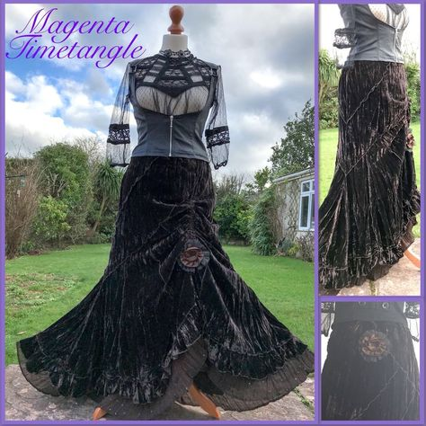 7c1fe64a1a1 Quirky velvet ruffle hitch skirt 6 8 10 12 steampunk boho lagenglook ...