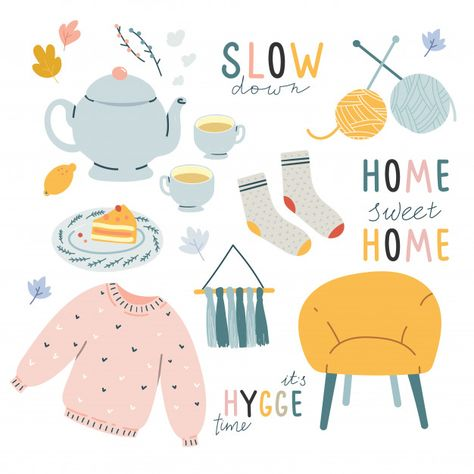 Comfortable hygge doodle illustrations with lettering Vector Korean Stickers, Flat Illustration, Doodle Illustrations, Posca Art, Journal Stickers, Aesthetic Stickers, Cute Stickers, Gouache, Cute Drawings