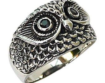 Sterling Silver Owl Wedding Ring Owl Wedding Band Tree Bark Etsy In 2020 Silver Owl Ring Rings For Men Mens Silver Rings