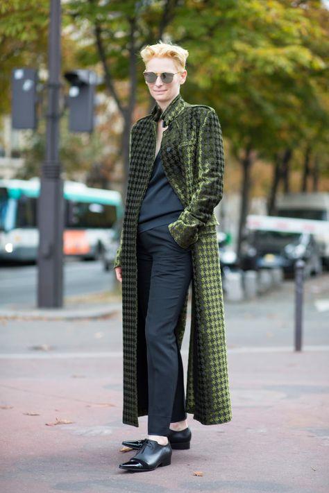 Tilda Swinton on the street at Paris Fashion Week. Fashion icon for me, always pushing boundries