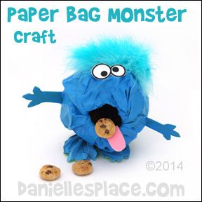 Paper Bag Monster Craft for Kids from www.daniellesplace.com.  ©2014