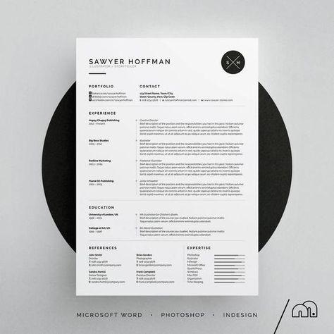 Sawyer Resume/CV Template Word Photoshop InDesign