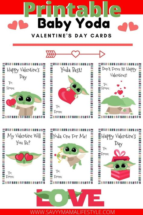 Printable Baby Yoda Valentines Day Cards