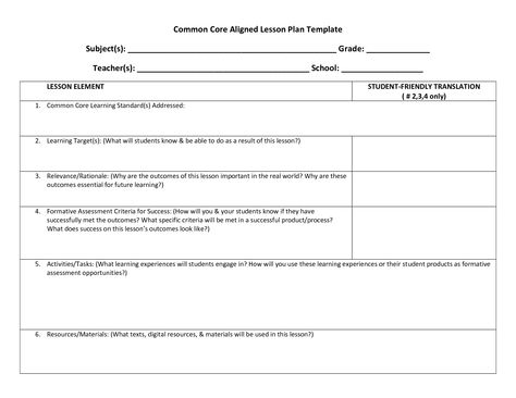Common Core - weekly lesson plan template - includes Marzano - common core lesson plan template