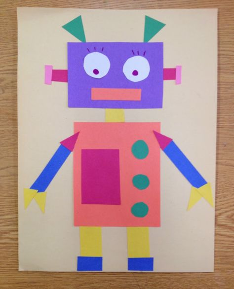 Geometric Robots Elements of Design: Color, Shape Art Lesson completed. - Geometric Robots Elements of Design: Color, Shape Art Lesson completed by students with A - Paper Robot, Robot Art, Diy With Kids, Art For Kids, Robots For Kids, Geometric Shapes Art, Construction Paper Crafts, Math Art, Shape Crafts