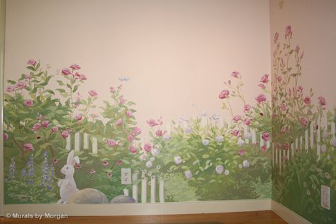 Rose Garden Nursery Mural Bunny In The Hand Painted Wall Murals San Francisco Jose Palo Alto By Morgan