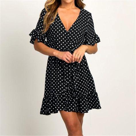 Summer Chiffon Dress Boho Style Beach Dress Fashion Short Sleeve V-neck Polka Dot A-line Party Dress Sundress Vestidos - Black / XXL