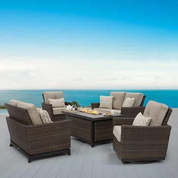 Springdale 5 Piece Woven Deep Seating Set With Fire Table Outdoor Fire Pit Seating Fire Pit Chat Set Outdoor Fire Outdoor conversation sets with fire pit