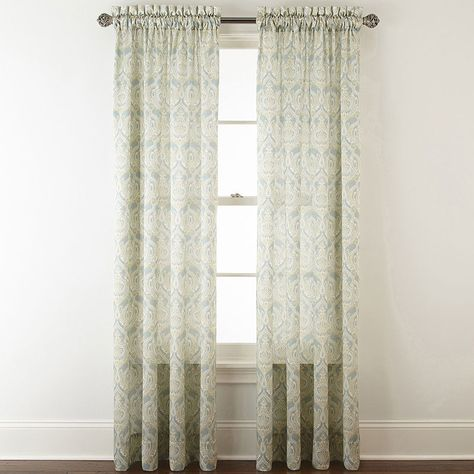 Jcpenney Home Hilton Damask Rod Pocket Curtain Panel Sheer