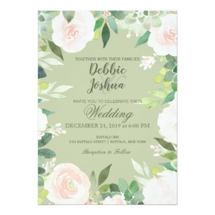 Mint Green Succulent Flower Wedding Invitation Zazzle Com