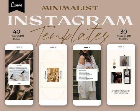 70 Instagram Templates. Minimalist Instagram Story Template. Canva templates for Bloggers. Instagram Carousel. Social Media Template.