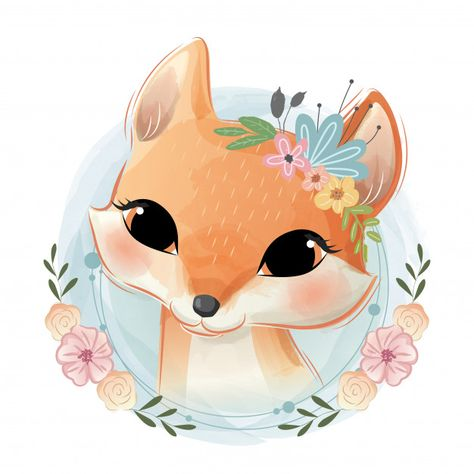 Cute foxy portrait Premium Vector