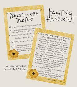 Little LDS Ideas: 'Principles Of A True Fast' Handout