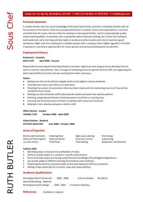 Sous Chef Resume Example - fine dining resume