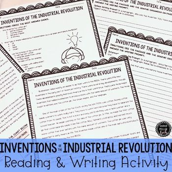 Inventions Of Industrial Revolution Reading Writing Activity