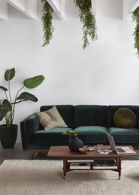 Green velvet sofa inspiration and product round-up. BOHO STYLE: THE GREEN VELVET SOFA - 6 STYLISH OPTIONS - heydjangles.com. Image via Freedom Furniture. Minimal boho living room, boho sofa, velvet sofa inspiration #bohochic #bohostyle