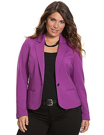 A breath of fresh air in the season's hottest hues, our French terry blazer adds a soft touch to your work-to-weekend wardrobe. The timeless cut provides a flattering, structured silhouette for curves, with contoured seams, notched lapels, vented back and a single button closure. Fully lined for a great fit and feel (plus the contrast-colored lining is super cute when you roll up your sleeves!) lanebryant.com